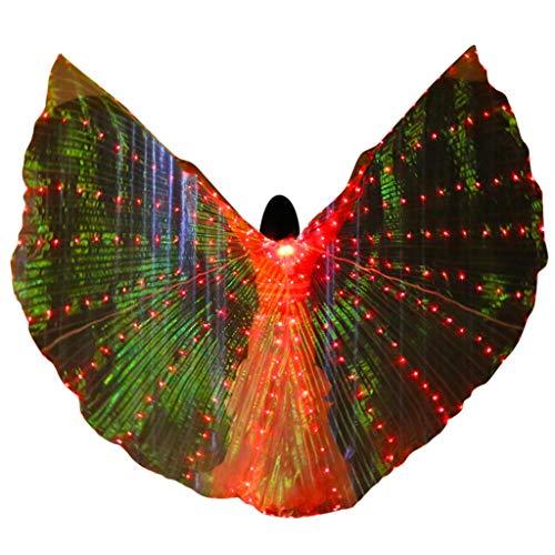 Yowablo Schmetterling Flügel Kostüm schmetterlingsflügel Butterfly Schal Flügel Cape Umhang LED Bauchtanz Angel Wings Schmetterlingsflügel mit Teleskopstäbchen (1 x Flügel + 1 x Teleskopstöcke,rot)