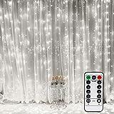 Vegena LED USB Lichtervorhang 3m x 3m, 300 LEDs Lichterkettenvorhang mit 8 Modi Lichterkette Gardine für Partydekoration Schlafzimmer Innenbeleuchtung Weihnachten Deko Weiß [Energieklasse...