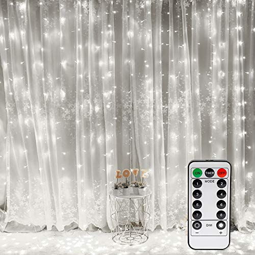 Vegena LED USB Lichtervorhang 3m x 3m, 300 LEDs Lichterkettenvorhang mit 8 Modi Lichterkette Gardine für Partydekoration Schlafzimmer Innenbeleuchtung Weihnachten Deko Weiß [Energieklasse A+++]