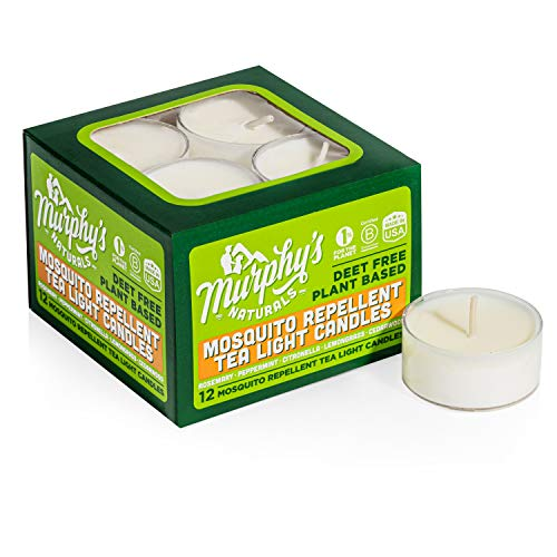 Murphy's Naturals Mosquito Repellent Tea Light Candles | Made with Essential Oils and a Soy/Beeswax Blend | 4 Hour Burn Time Per Candle | 12 Candles Per Box