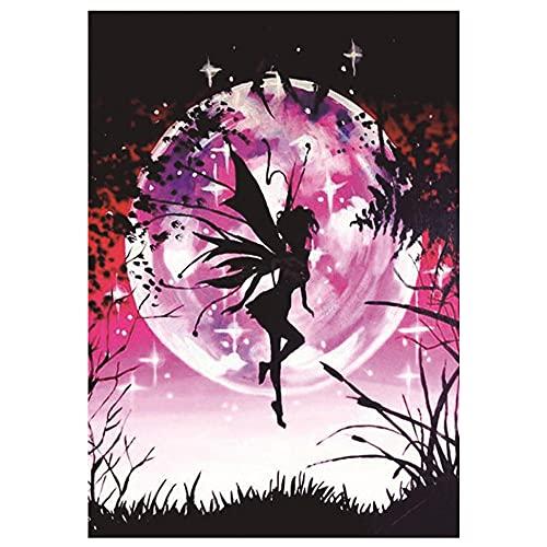 Kit de punto de cruz imagen de bordado personaje flor hada 14CT 40x50cm por número kit de bordado aguja e hilo de bricolaje bordado preimpreso decoración del hogar