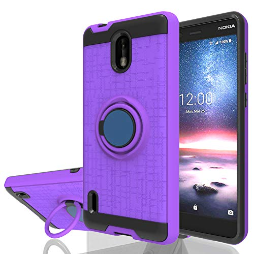 Wtiaw Nokia 3.1C Case,Nokia 3.1A Case,Nokia 3.1 C Phone Cases,Nokia 3.1 A Phone Cases,360 Degree Rotating Ring Kickstand [TPU+PC Material] Hybrid Dual Layer Defender Case for N0KIA 3.1C-CH Purple