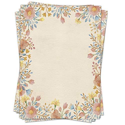 Briefpapier Design-Motiv Natur Aquarell Blumen Rosé - 50 Blatt, DIN A4 Format, Papier beidseitig bedruckt