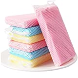 5 unids/set Lavavajillas Esponja Cocina Limpieza Esponja Casa Plato Lavado Potes Limpiar Esponja (Color : 5PCS Colorful)