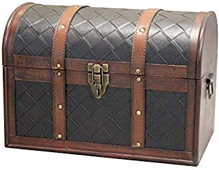 Vintiquewise Wooden Leather Round Top Treasure Chest, Decorative storage Trunk with Lockable Latch, Brown