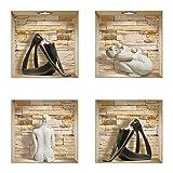 The Nisha DIY Pegatinas Etiquetas para Pared Desmontables de Vinilo 3D Arte Mágico, Conjunto de 4, Piedras Yoga negro y esculturas blancas