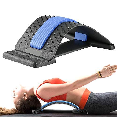 Gxhong Rugstretcher Rugstretcher Back Stretcher, rugtrainer voor onder en boven lendenwervelkolom, rugmassageondersteuning voor bureaustoel fitness backright Stretcher (blauw)