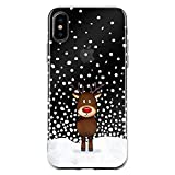 JammyLizarD Silikonhülle für iPhone XS Max Transpatente Hülle mit Weihnachts-Motiv [Sketch Backcover] Durchsichtige Slim Hülle Schutzhülle aus Silikon, Blitzen