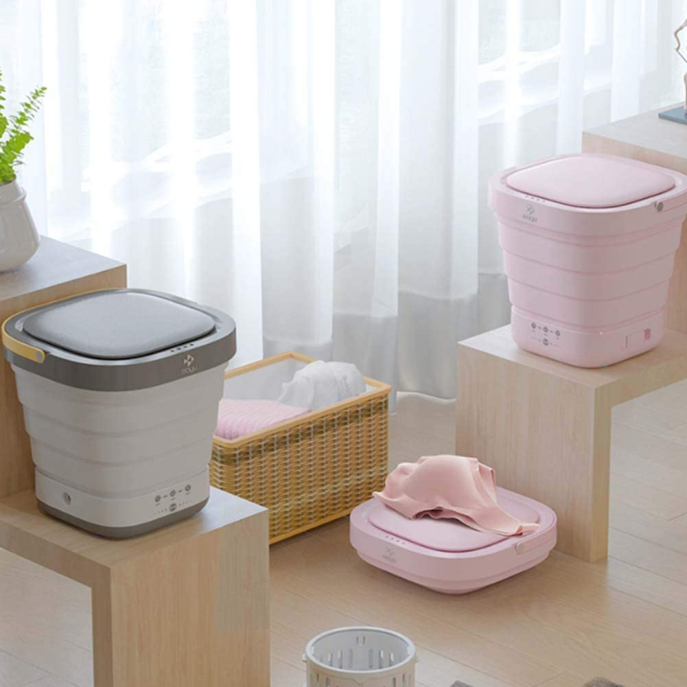 Grey Mini Washing Machine Portable Clothes Washer and Dryer Folding Washing Machine for Travel Business Trip