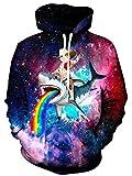 Rave on Friday Unisex Hoodie 3D Druck Katze Kapuzenpullover Lustiges Bunt Galaxis Hai Muster Langarm Jumper mit Taschen Sweatshirt Pullover für Herren Damen L