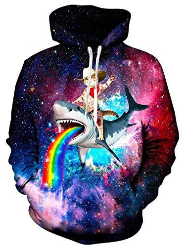 Rave on Friday Rainbow Shark Hoodie Herren Damen 3D Bedruckt Pullover Sweatshirt Neuheit Bunte Kapuzenpullover mit Tasche S-M