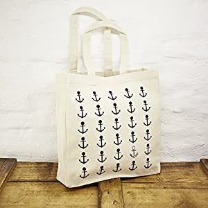Einkaufstasche / Shopper / Schultertasche Design Anker / Ankermuster – Baumwolle blau-weisser Druck