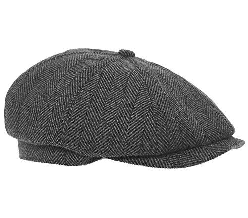 Hawkins gorra plana gris para hombre estilo Bakerboy Gatsby (59 cm (grande)