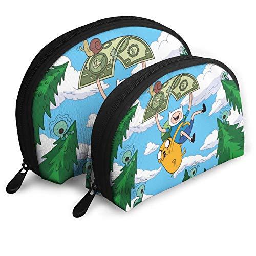XCNGG Dibujos animados Adventure Time Bolsas de cosméticos Bolsa portátil Conjunto de bolsa de embrague Mujeres Hombres Monedero de viaje con cremallera Organizador de bolsos 2 uds