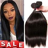 QinMei Brazilian Straight Hair 3 Bundles 10A 100% Virgin Unprocessed Human Hair Weave Extensions Brazilian Remy Straight Human Hair Bundles Natural Black Color (16 18 20 inch)