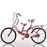 Bicicleta En Tándem De 26 Pulgadas Padre Hijo De Dos Asientos De Bicicleta De Madre A Hijo Adecuado para Viajar con Niños,Rojo