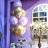 50 Stück Luftballons Metallic,Bunt Verchromte Helium Ballons 6 Metallischen Farben Metallfarbe Dekoration für Vintage Jugendweihe Junge Geburtstag JGA Party Deko (Gold Silber Blau Grün Rosa Lila) - 8