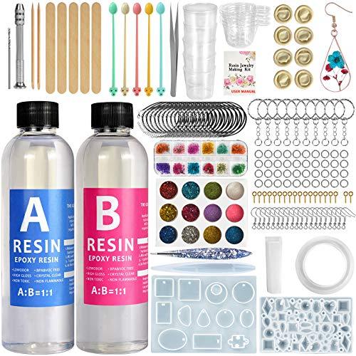 Resina Epoxi Kit Fabricación de Joyas - Moldes Silicona y Fabricación de Accesorios Joyas Resin para Bricolaje,Artesanía, Joyería, Decoración,Accesorios para Ilaveros(440ml) 15.5oz