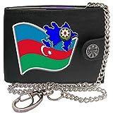 Azerbaïdjan Drapeau Carte Armoiries KLASSEK Hommes Portefeuille avec chaîne Cuir véritable RFID Blocage Poche à Monnaie avec Boîte en Métal