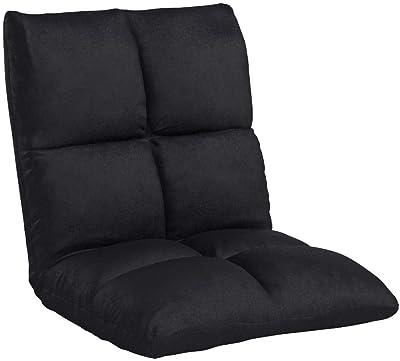 アイリスプラザ 座椅子 リクライニング 14段階 低反発 モコモコ なめらか マイクロファイバー生地 ブラック FC-540