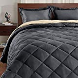 Basic Beyond Down Alternative Dark Grey/Sand Comforter Set Queen - Reversible Bed Comforter with 2 Pillow Shams for All Seasons