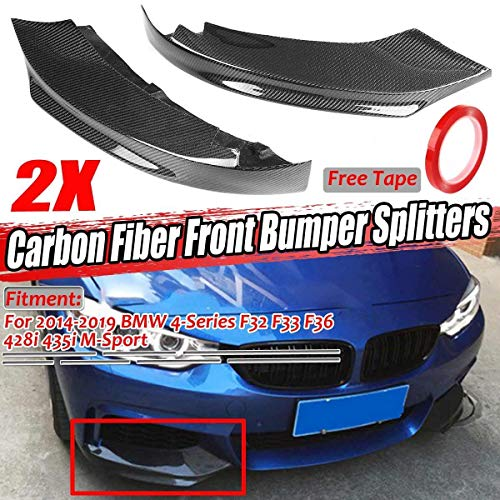 Nologo ROYAL Star TY 2 Stück Real Carbon Fiber Car Frontstoßstange Splitter Lip Diffuser Spoiler for BMW 4-Series F32 F33 F36 428i 435i M-Sport 2014-2019