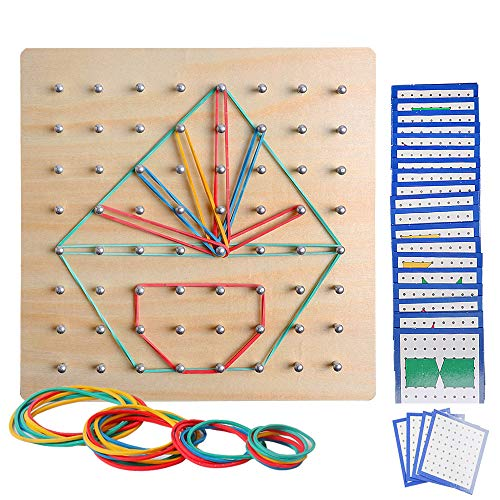 USATDD Wooden Geoboard Mathematical Manipulative Material Array STEM Block Geo Board Graphical Educational Toys with Pattern Flash Cards and Latex Bands Shape Puzzle Matrix 8x8 Brain Teaser for Kid