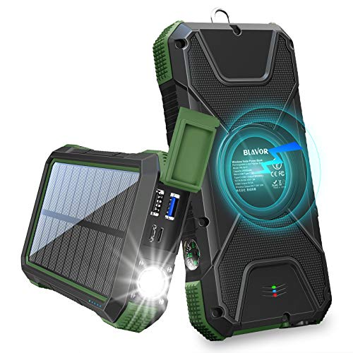 BLAVOR Solar Charger Power Bank 18W, QC 3.0 Portable Wireless Charger 10W/7.5W/5W with 4 Outputs & Dual Inputs, 20000mAh External Battery Pack IPX5 Waterproof with Flashlight & Compass (Dark Green)