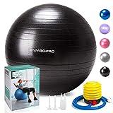 GYMBOPRO Fitness Pelota de Ejercicio,Bola Suiza con Bomba de Inflado ,Bola de yoga antirrebote y antideslizante,Bola de equilibrio para gimnasio Pilates Gimnasio de yoga (55 cm,Negro)