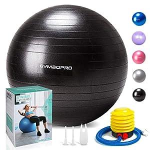 GYMBOPRO Fitness Pelota de Ejercicio - Bola Suiza con Bomba de Inflado,Bola de Yoga antirrebote y Antideslizante Bola de Equilibrio para Gimnasio Pilates Gimnasio de Yoga (75 cm, Negro)