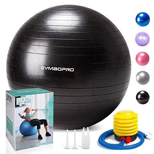 GYMBOPRO Ballon de Gymnastique, Balle de Fitness,Ballon d'exercice avec Pompe Rapide, Anti-éclatement et Anti-dérapant Yoga Ball (65 cm, Noir)