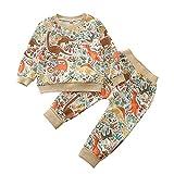 EpicLife Conjunto de ropa para bebés y niños, con estampado de dinosaurios, manga larga, cuello redondo y pantalones, 2 unidades, beige, 2-3 Años