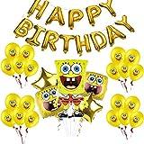 Suministros de globos de fiesta de Bob Esponja, globos de papel de aluminio con personajes de Bob...