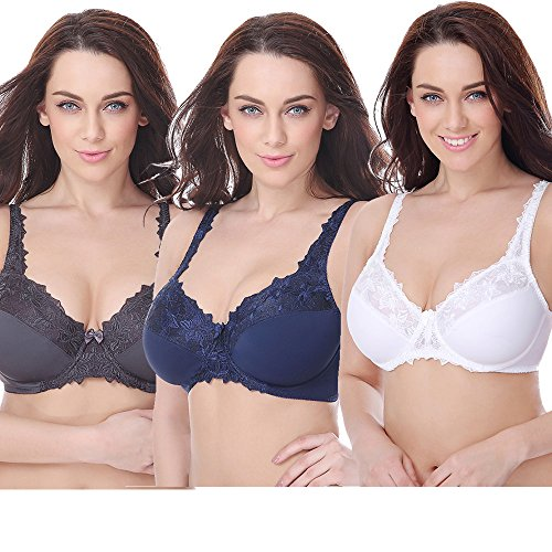 Curve Muse Plus Size Minimizer Underwire Bra With Embroidery Lace-3Pack Size:38DD