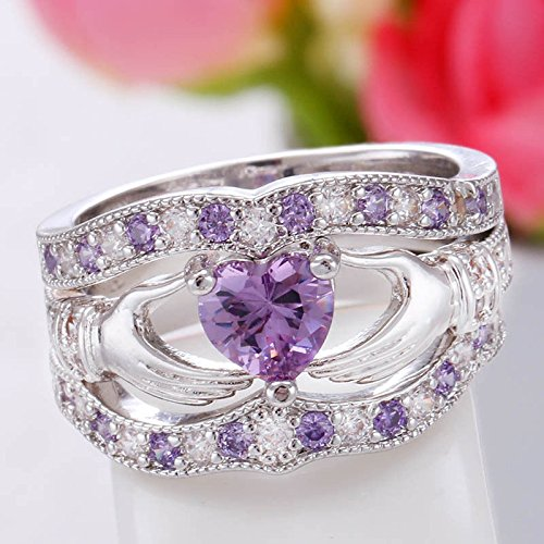 phitak shop 3PCs Irish Claddagh Celtic Heart Amethyst 925 Silver Wedding Ring Bridal Set New (5)