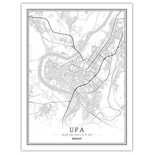 Stampa su Tela, UFA Russia Mappa della Città Pittura Nero Bianco Semplice Arte Murale Poster Senza Cornice Immagine, Pittura Verticale caffè Ufficio Decorazioni per La Casa,60 * 80cm