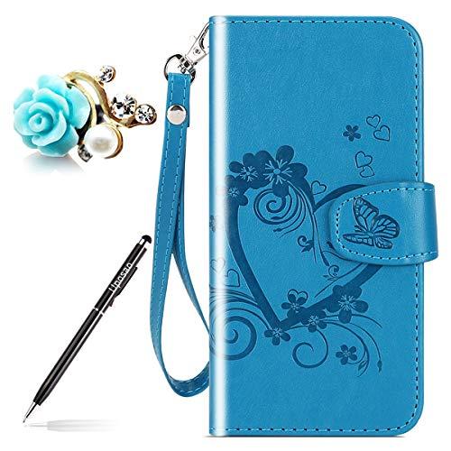 Uposao Kompatibel mit Handytasche Xiaomi Mi 5X Lederhülle Leder Tasche Schmetterling Blumen Handy Hüllen Bookstyle Klappbar Klapphülle Flip Case Cover mit Standfunktion Karteneinschub,Blau
