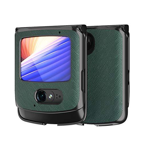 Custodia® Textured Leather Hülle Foldable,Anti Vibration und Anti Fall,Comfortable Grip Full Protection Shell Compatible for Motorola Razr 5G/Motorola Razr 2(4)