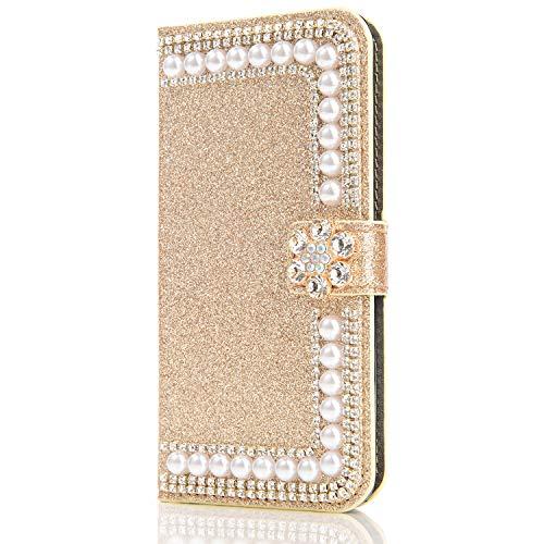 Capa carteira XYX para iPhone 11, capa carteira para iPhone 11, design com fivela de flor de pérolas com glitter e design de fivela de couro PU para meninas e mulheres para iPhone 11 de 6,1 polegadas (dourado)