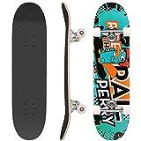 Hikole Skateboard complet en bois 79 x 20 cm en érable canadien 31 pouces, roues 85 A pour enfants et adultes (Couleur_9)