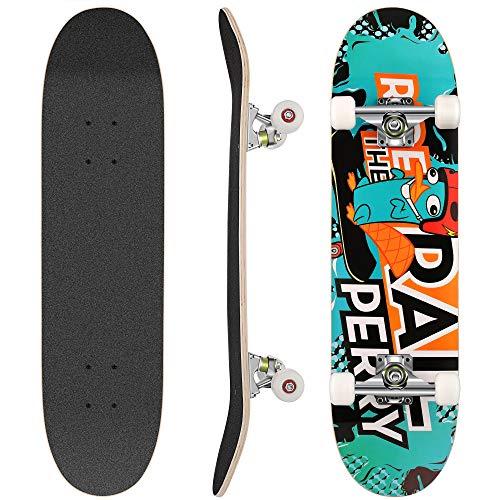 WeSkate Skateboard Komplett Board 79x20cm Holzboard ABEC-7 Kugellager 31 Zoll 7-lagigem Ahornholz, 93A Rollen für Anfänger Kinder Jugendliche und Erwachsene