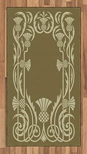 ABAKUHAUS Jugendstil Teppich, Ananas Grenze, Deko-Teppich Digitaldruck, Färben mit langfristigen Halt, 80 x 150 cm, Salbeigrün Sepia
