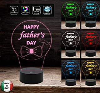 HAPPY FATHER'S DAY Regalo FESTA DEL PAPA' Lampada 7colori da scrivania Idea originale personalizzato
