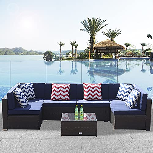 Anbuy Patio Furniture Set Conversation Sectional - 7 Pieces Outdoor All-Weather Wicker Rattan...