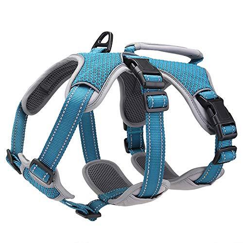 BELPRO Mehrzweck-Hundegeschirr, ausbruchsicher, kein Ziehen, reflektierend, verstellbare Weste mit strapazierfähigem Griff, Hundegeschirr für große/aktive Hunde(Blau, XL)