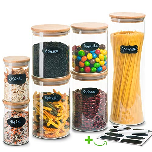 Greeano® Vorratsgläser mit Deckel 7 teilig | Füllmenge 5.9L | Spülmaschinenfest | Mottensicher | Borosilikatglas