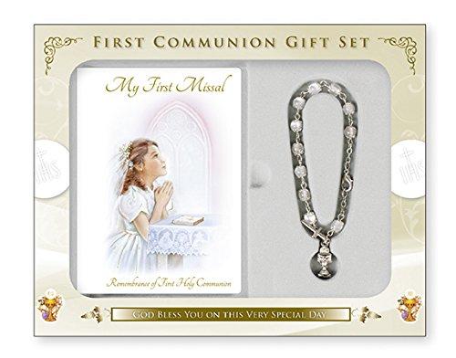 Conjunto misal y rosario con cáliz, regalo para niñas en su primera comunión, con tarjeta de oración de Lourdes