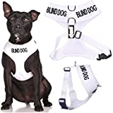 DEAF DOG (Dog Has Limited/No Hearing) White Colour Coded Non-Pull Front and Back D Ring Padded and Waterproof Vest Dog Harness PREVENTS Accidents By Warning Others Of Your Dog In Advance (M)