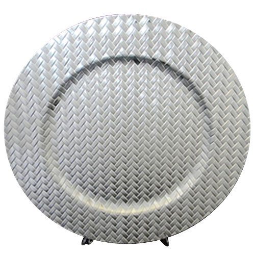 Gala Home Silver Basketweave Round Charger Plates, 13 inch, set of 6