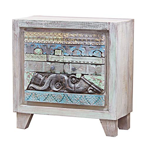 Casa Moro | Indische Kommode Nadir 90x40x90 cm (B/T/H) im Shabby Chic Design | schmale Echtholz Kommode aus Mango Holz | EIN Sideboard für einfach schöner Wohnen | CAC529175